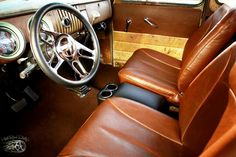 Custom leather bucket seat interior 1954 1955 chev chevy chevrolet pickup truck.