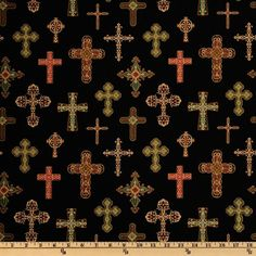 Michael Miller Golden Angel Divine Crosses Black from @fabricdotcom  Designed for Michael Miller Fabrics, colors include ruby red, emerald green, gold and black. Use for quilting and craft projects.