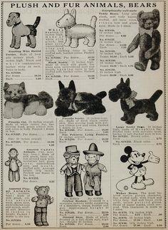 1934 Ad Stuffed Mickey Mouse Teddy Bear Scotty Dog Cat