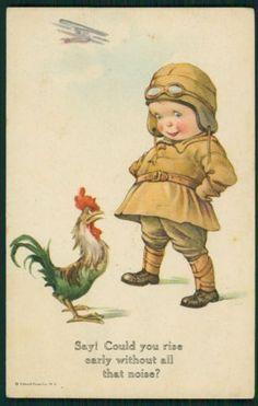 Art Comic Child Boy Roster sing TWELVE TREES original vintage old 1910s postcard