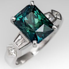 5 Carat Rich Blue-Green Sapphire Engagement Ring in Platinum