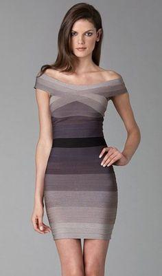 Herve Leger Ombre Off Shoulder Dress
