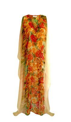 BORA BORA IVORY FLORAL printed silk long kaftan dress | CAFATELIER Resortwear