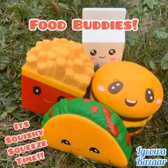Another squishy squeeze time video ❤️ Today we have food buddies, they are all cute & soft. We have taco, fries, burger, and milk! Huge Squishies, Fun Crafts For Kids, Activities For Kids, Squishy Videos, Original Barbie Doll, Hello Kitty Rooms, Slime And Squishy, Pop Toys, Diy Phone Case