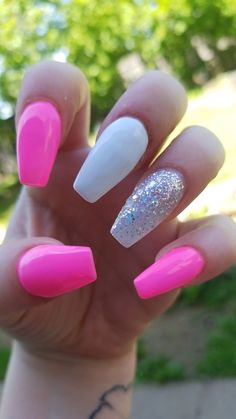 Hot pink coffin nails Hot Almond Shaped Nails Colors To Get You Inspired To Try. Acrylic Nails Coffin Short, White Acrylic Nails, Best Acrylic Nails, Summer Acrylic Nails, White Nails, Pink Coffin, Black Nails, Homecoming Nails, Prom Nails