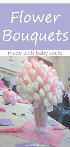 Flower Bouquets made with Baby Socks! How to make a sock into a flower. LEARN how to make baby sock and washcloth roses which are perfect baby shower gifts Baby Shower Bouquet, Baby Sock Bouquet, Diaper Bouquet, Baby Shower Flowers, Baby Shower Gifts For Boys, Baby Shower Fun, Baby Gifts, Newborn Gifts, Baby Shower Centerpieces