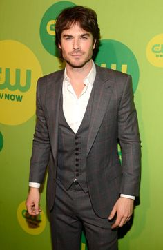 Ian Somerhalder single and solo on the CW upfronts carpet