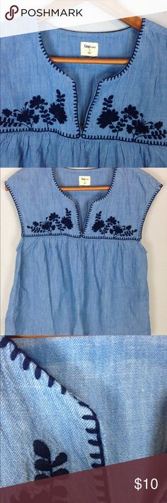 Gap Embroidered Yoke Top Size S *read Is missing some stitching and is loose is one spot on Neckline. From fall 2016. 100% cotton GAP Tops