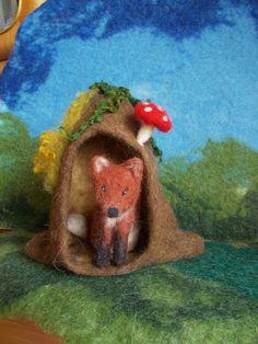 Jahreszeitentisch - Waldorf gefilzt Fuchshöhle - ein Designerstück von Puppenprofi bei DaWanda