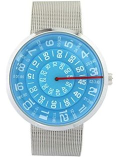 YouYouPifa Unisex Special Design Dial Stainless Steel Quartz Business Wrist Watch (Blue) ❤ YouYouPifa