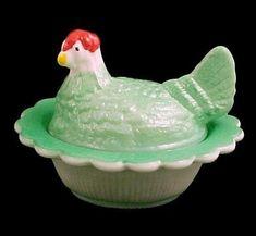 Green Hen on a Nest Chick Salt Dip Cellar Painted Milk Glass Jade Jadite #CoveredAnimalDish