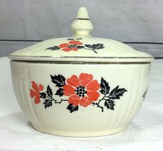 Hall Chine Drip Grease Jar RED POPPY RADIANCE with Cover 1930s #Hall