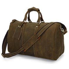 Vintage Handmade Antique Genuine Crazy Horse Leather Traveling Bag