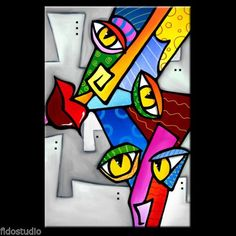 HAPPY-Original-Abstract-Modern-Colorful-FACES-Art-Canvas-Painting-Fidostudio