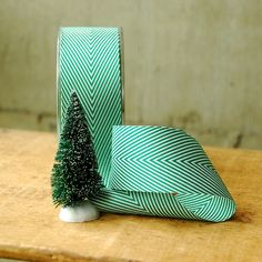 """1.5"""" Spearmint Green and White Chevron Ribbon - Vintage Style Twill Tape in red and white. $1.00, via Etsy."""