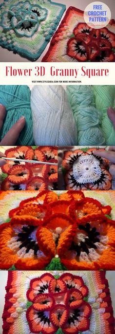 Flower 3D Crochet Granny Square - #crochet #freepattern #flowers #crochetflowers