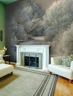 winter living wallsauce mural trees murals landscape rooms
