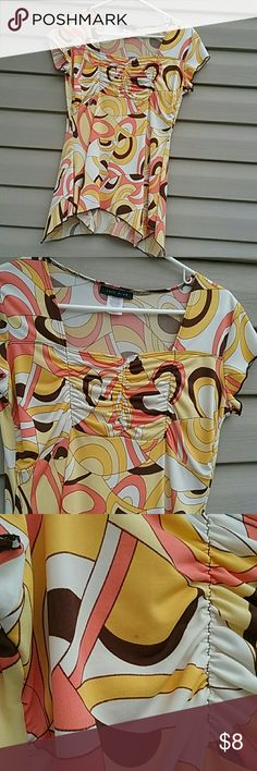 Can't Miss top Can't Miss top beautiful and bright yellow, pink , brown and white size M there is a small spot on breast area shown in picture 3 other than that it's in excellent condition Can't Miss Tops