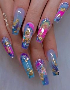 40 Fabulous Nail Designs That Are Totally In Season Right Now - These fabulous . - 40 Fabulous Nail Designs That Are Totally In Season Right Now – These fabulous nail art designs - Dope Nails, Neon Nails, Swag Nails, Glitter Nails, 3d Nails, Gold Nail, Grunge Nails, Neon Nail Designs, Acrylic Nail Designs