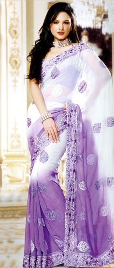 Shaded #White and Light #Purple Faux Chiffon #Saree with Blouse @ $83.66