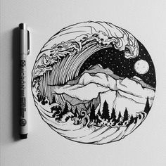 #art #artist #Illustrations #drawing #nature #waves #mountains #moon #pen…