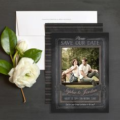 Chalkboard Portrait Save The Date Cards by Ringleader Paper Co. | Elli