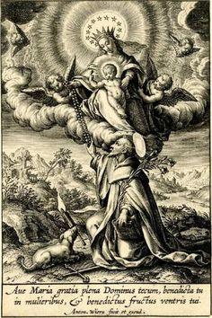 Entrega do rosário a São Domingosc.1600; António Wierix; Gravura
