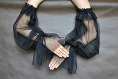 Elegant big sleeves GOTHIC VAMPIRE Glamour black gloves, tulle and lace flounce fingerless mittens Long Gloves, Black Gloves, Gothic Lolita, Gothic Vampire, Ropa Upcycling, Sleeves Designs For Dresses, Fingerless Mittens, Mode Inspiration, Fashion Outfits