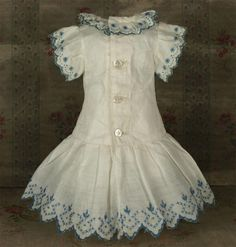 Beautiful Antique French Hand Embroidered Muslin Bebe Dress for JUMEAU, BRU other French Doll