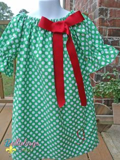 Christmas Green Polka Dot Peasant Dress with 3/4 sleeve  with Monogram Initial and Bow - Sizes 18M - 12Y