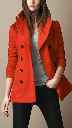 -'Love the burnt orange!  Burbery Brit Wool Pea Coat - Clean lines and bright color make this coat one you'll wear for years to come.