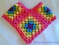 Granny Square Poncho: Size 12-18 months {Free Crochet Pattern}