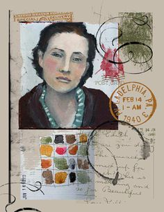 Art journal page with portrait of woman, paint samples, and postmarks Artist Journal, Art Journal Pages, Art Journals, Art Du Collage, Mixed Media Collage, Kunstjournal Inspiration, Sketchbook Inspiration, Art Postal, Arte Sketchbook
