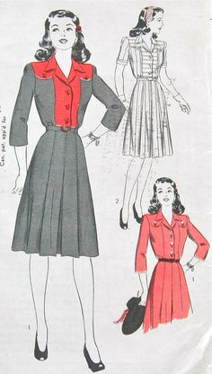 1940s Hollywood dress pattern. Made in cotton for a day dress.