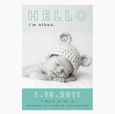 custom baby boy or girl photo birth announcement  by denadesign, $16.00