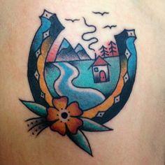 Horseshoe landscape tattoo