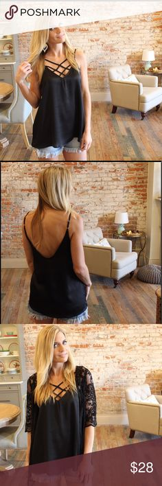 """Black sateen strappy front cami top Modeling size small,  adjustable straps.  Bust laying flat: S 19"""" M 20"""" L 21"""" Length S 28"""" M 29"""" L 30"""". 97% polyester 3% spandex. Add to bundle to save when purchasing. FG8000330 Tops"""