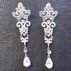 Long White Chandelier Dangle Earrings Vintage Style Wedding w Swarovki Crystal | eBay