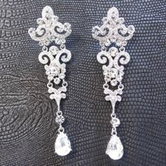 Long White Chandelier Dangle Earrings Vintage Style Wedding w Swarovki Crystal | eBay
