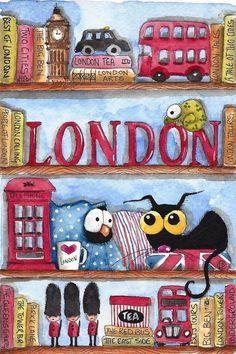 Original watercolor painting whimsical Stressie Cat bird crow London Shelf  #IllustrationArt