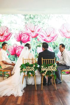 'Better Together' sweetheart chair signs // A Tropical Wonderland: Kim and Bernice's Colourful Vintage-Inspired Wedding Wedding Chair Decorations, Wedding Chairs, Wedding Themes, Wedding Signs, Diy Wedding, Dream Wedding, Wedding Day, Wedding Vintage, Church Wedding