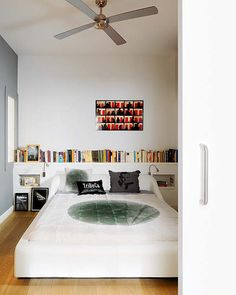 For the shelf behind the bed. Prefer it to books hanging over your head in bed.
