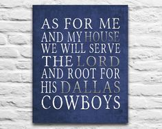 """Dallas Cowboys football inspired Personalized Customized Art Print- """"As for Me"""" Parody- Unframed Print"""