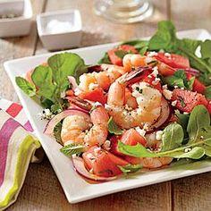 Shrimp, Watermelon and Feta Salad - omit Feta for a lactose-free version