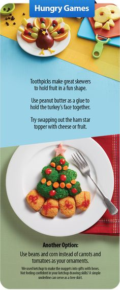Make mealtime festive and fun. Add excitement to the kids' table this year with a creative meal presentation and up the odds of getting them to try new foods.