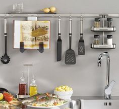 kitchen rail systems - from Jeri Dansky, professional organizer System Kitchen Design, Ikea Kitchen Design, Kitchen Island Decor, Modern Kitchen Design, Kitchen Utensils, Kitchen Rails, Kitchen Storage Units, Kitchen Organization, Organization Ideas