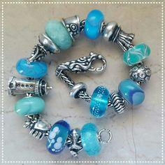 ocean and aqua theme trollbeads bracelet