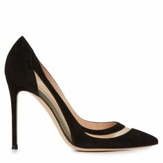Gianvito Rossi Mesh panelled suede pumps