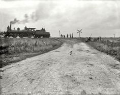"Joliet, Illinois, circa 1901. ""Chicago & Alton Railroad. Track elevating at grade crossing."""