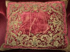 18th C Antique European Velvet Metallic Stumpwork Chenille Appliqued Pillow Deep Burgundy Metallic Trim $2200.00.